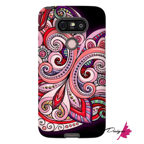 Image of Pink Floral Hearts Mandala Black Phone Cases - LG G5 / Premium Glossy Tough Case
