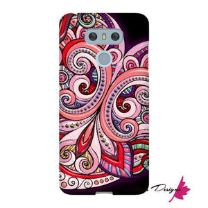 Pink Floral Hearts Mandala Black Phone Cases - LG G6 / Premium Glossy Snap Case