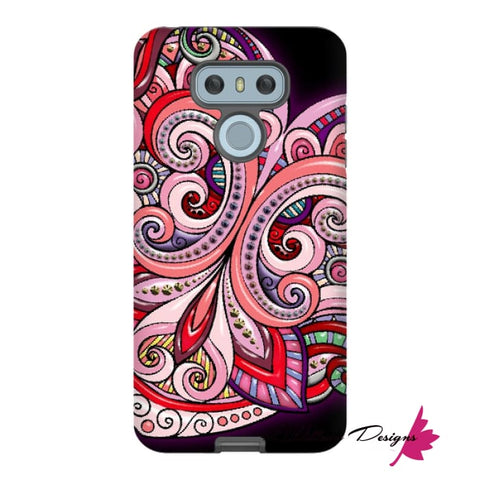 Image of Pink Floral Hearts Mandala Black Phone Cases - LG G6 / Premium Glossy Tough Case
