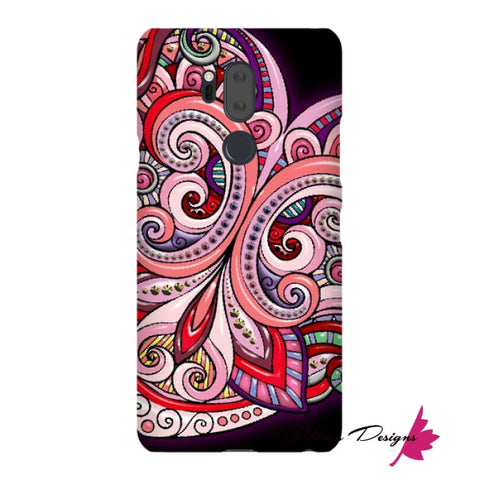 Image of Pink Floral Hearts Mandala Black Phone Cases - LG G7 / Premium Glossy Snap Case
