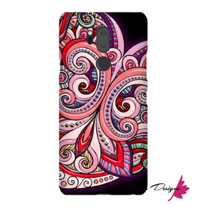 Pink Floral Hearts Mandala Black Phone Cases - LG G7 / Premium Glossy Snap Case
