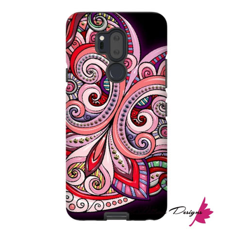Image of Pink Floral Hearts Mandala Black Phone Cases - LG G7 / Premium Glossy Tough Case