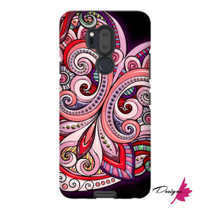 Pink Floral Hearts Mandala Black Phone Cases - LG G7 / Premium Glossy Tough Case