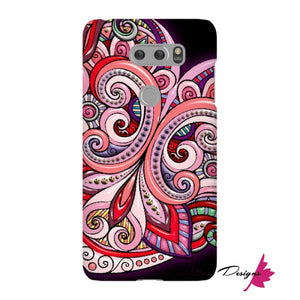 Pink Floral Hearts Mandala Black Phone Cases - LG V30 / Premium Glossy Snap Case