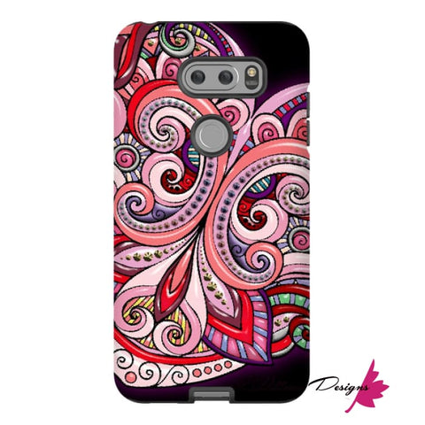 Image of Pink Floral Hearts Mandala Black Phone Cases - LG V30 / Premium Glossy Tough Case