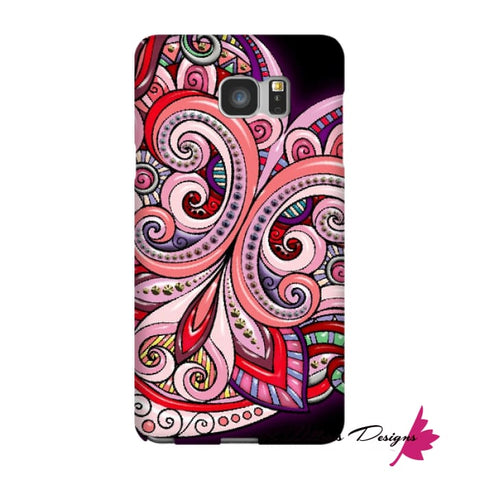 Image of Pink Floral Hearts Mandala Black Phone Cases - Samsung Galaxy Note 5 / Premium Glossy Snap Case