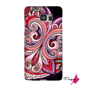 Pink Floral Hearts Mandala Black Phone Cases - Samsung Galaxy Note 5 / Premium Glossy Snap Case