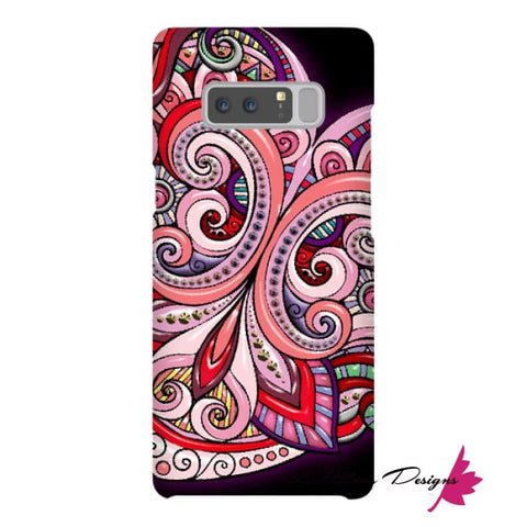 Image of Pink Floral Hearts Mandala Black Phone Cases - Samsung Galaxy Note 8 / Premium Glossy Snap Case