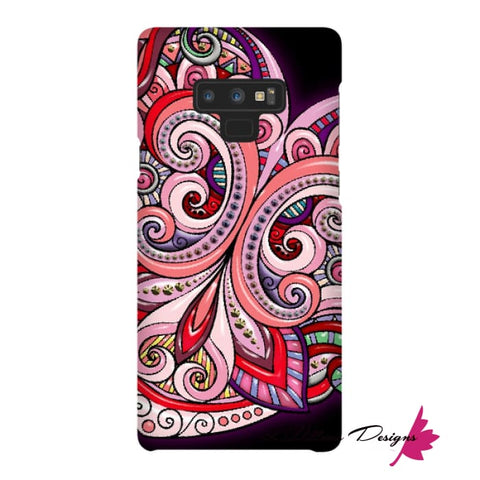 Image of Pink Floral Hearts Mandala Black Phone Cases - Samsung Galaxy Note 9 / Premium Glossy Snap Case