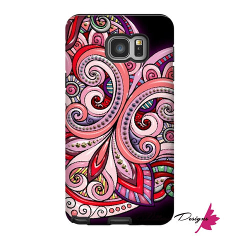 Image of Pink Floral Hearts Mandala Black Phone Cases - Samsung Galaxy Note 5 / Premium Glossy Tough Case
