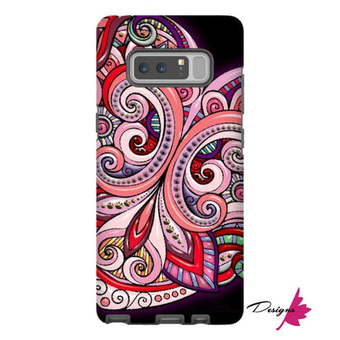 Image of Pink Floral Hearts Mandala Black Phone Cases - Samsung Galaxy Note 8 / Premium Glossy Tough Case
