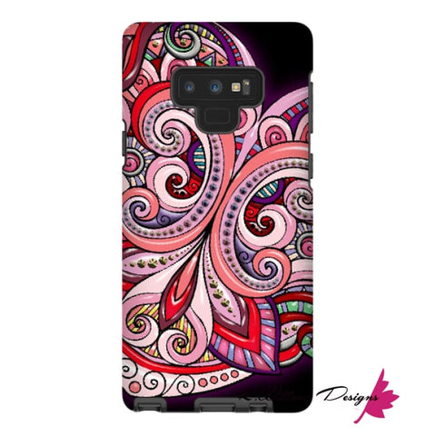 Image of Pink Floral Hearts Mandala Black Phone Cases - Samsung Galaxy Note 9 / Premium Glossy Tough Case