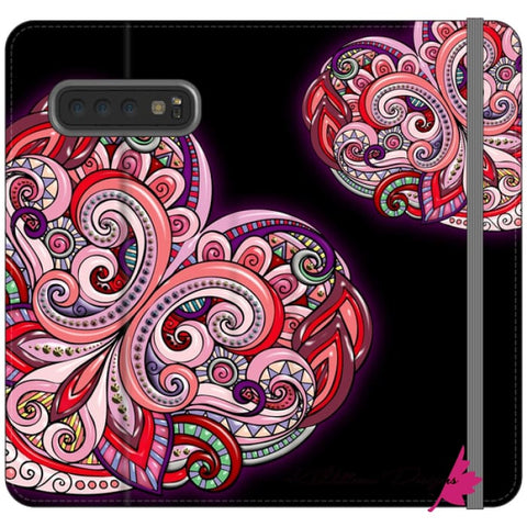 Image of Pink Floral Hearts Mandala Black Phone Cases - Samsung Galaxy S10 Plus / Premium Folio Wallet Satin Case