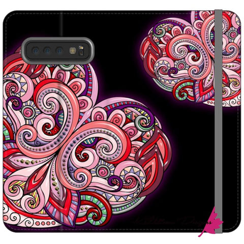 Image of Pink Floral Hearts Mandala Black Phone Cases - Samsung Galaxy S10 / Premium Folio Wallet Satin Case