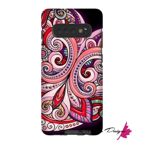 Image of Pink Floral Hearts Mandala Black Phone Cases - Samsung Galaxy S10 Plus / Premium Glossy Tough Case