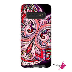 Pink Floral Hearts Mandala Black Phone Cases - Samsung Galaxy S10 Plus / Premium Glossy Tough Case