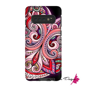 Pink Floral Hearts Mandala Black Phone Cases - Samsung Galaxy S10 / Premium Glossy Tough Case