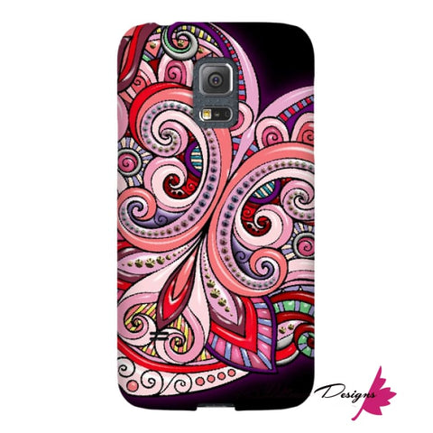 Image of Pink Floral Hearts Mandala Black Phone Cases - Samsung Galaxy S5 Mini / Premium Glossy Snap Case