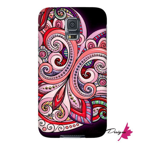 Image of Pink Floral Hearts Mandala Black Phone Cases - Samsung Galaxy S5 / Premium Glossy Snap Case