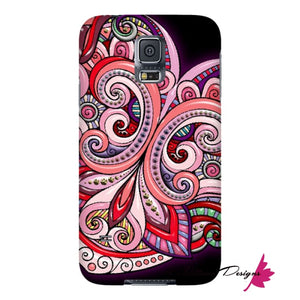 Pink Floral Hearts Mandala Black Phone Cases - Samsung Galaxy S5 / Premium Glossy Snap Case