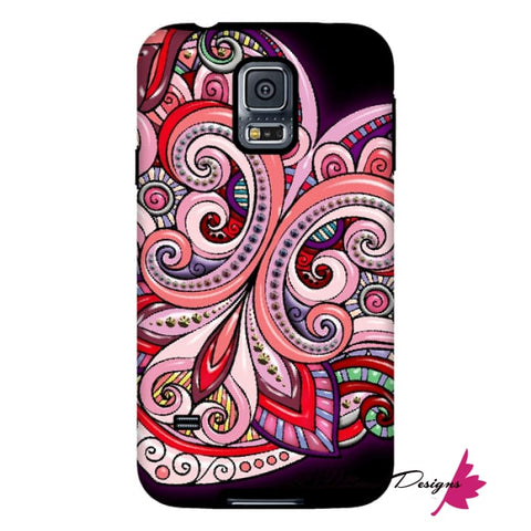 Image of Pink Floral Hearts Mandala Black Phone Cases - Samsung Galaxy S5 / Premium Glossy Tough Case