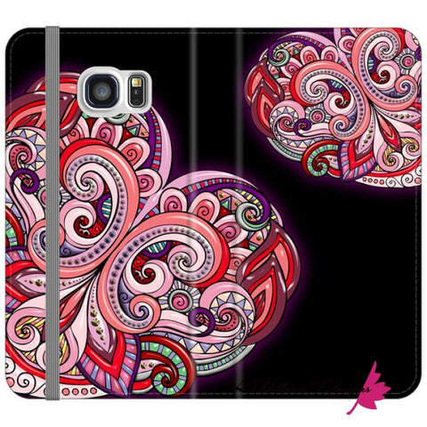 Image of Pink Floral Hearts Mandala Black Phone Cases - Samsung Galaxy S6 Edge / Premium Folio Wallet Satin Case