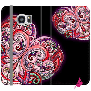 Pink Floral Hearts Mandala Black Phone Cases - Samsung Galaxy S6 Edge / Premium Folio Wallet Satin Case