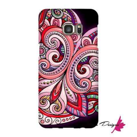 Image of Pink Floral Hearts Mandala Black Phone Cases - Samsung Galaxy S6 Edge Plus / Premium Glossy Snap Case