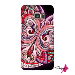 Pink Floral Hearts Mandala Black Phone Cases - Samsung Galaxy S6 Edge Plus / Premium Glossy Snap Case