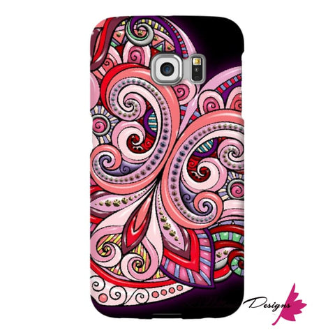 Image of Pink Floral Hearts Mandala Black Phone Cases - Samsung Galaxy S6 Edge / Premium Glossy Snap Case