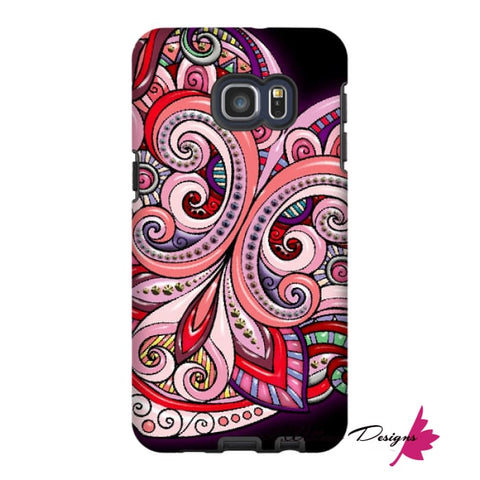 Image of Pink Floral Hearts Mandala Black Phone Cases - Samsung Galaxy S6 Edge Plus / Premium Glossy Tough Case