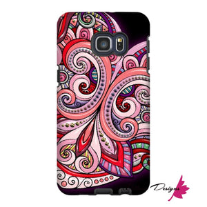 Pink Floral Hearts Mandala Black Phone Cases - Samsung Galaxy S6 Edge Plus / Premium Glossy Tough Case