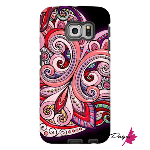 Image of Pink Floral Hearts Mandala Black Phone Cases - Samsung Galaxy S6 Edge / Premium Glossy Tough Case