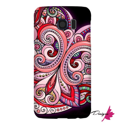 Image of Pink Floral Hearts Mandala Black Phone Cases - Samsung Galaxy S6 / Premium Glossy Snap Case