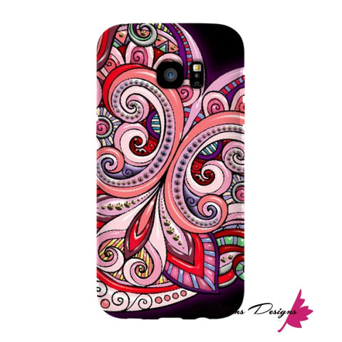 Image of Pink Floral Hearts Mandala Black Phone Cases - Samsung Galaxy S7 Edge / Premium Glossy Snap Case