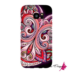 Pink Floral Hearts Mandala Black Phone Cases - Samsung Galaxy S7 Edge / Premium Glossy Snap Case