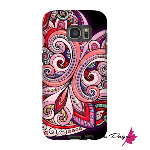 Image of Pink Floral Hearts Mandala Black Phone Cases - Samsung Galaxy S7 Edge / Premium Glossy Tough Case