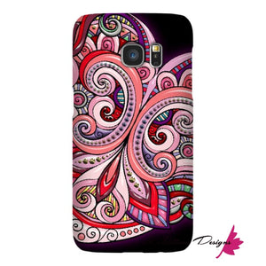 Pink Floral Hearts Mandala Black Phone Cases - Samsung Galaxy S7 / Premium Glossy Snap Case