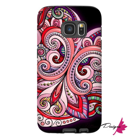 Image of Pink Floral Hearts Mandala Black Phone Cases - Samsung Galaxy S7 / Premium Glossy Tough Case