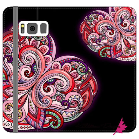 Image of Pink Floral Hearts Mandala Black Phone Cases - Samsung Galaxy S8 / Premium Folio Wallet Satin Case