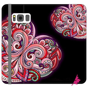 Pink Floral Hearts Mandala Black Phone Cases - Samsung Galaxy S8 / Premium Folio Wallet Satin Case