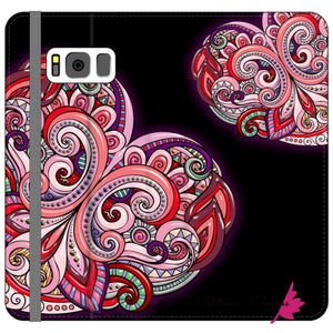 Pink Floral Hearts Mandala Black Phone Cases - Samsung Galaxy S8 Plus / Premium Folio Wallet Satin Case