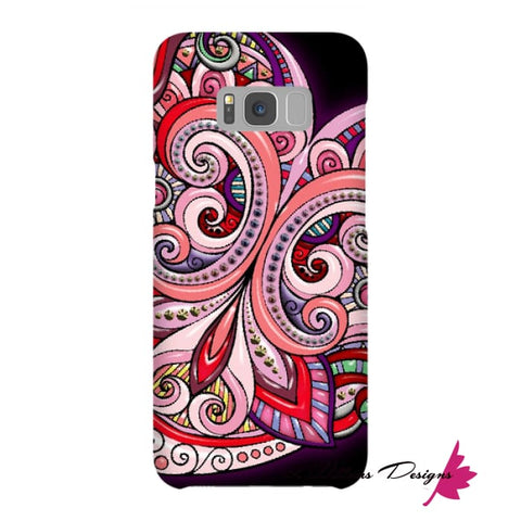 Image of Pink Floral Hearts Mandala Black Phone Cases - Samsung Galaxy S8 Plus / Premium Glossy Snap Case