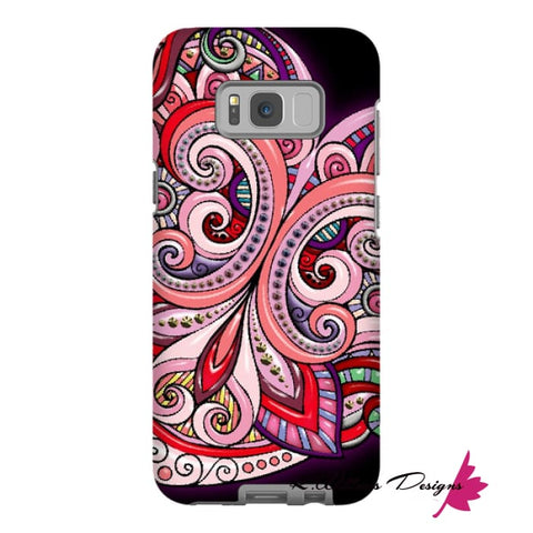 Image of Pink Floral Hearts Mandala Black Phone Cases - Samsung Galaxy S8 Plus / Premium Glossy Tough Case