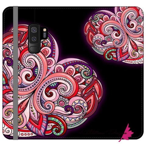 Image of Pink Floral Hearts Mandala Black Phone Cases - Samsung Galaxy S9 Plus / Premium Folio Wallet Satin Case