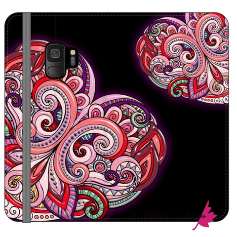Image of Pink Floral Hearts Mandala Black Phone Cases - Samsung Galaxy S9 / Premium Folio Wallet Satin Case