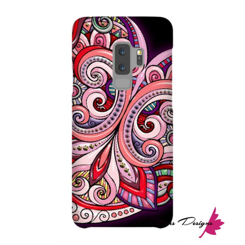 Image of Pink Floral Hearts Mandala Black Phone Cases - Samsung Galaxy S9 Plus / Premium Glossy Snap Case