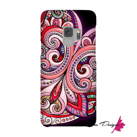 Image of Pink Floral Hearts Mandala Black Phone Cases - Samsung Galaxy S9 / Premium Glossy Snap Case