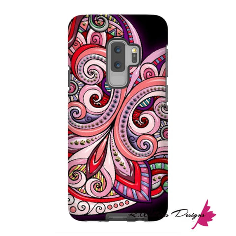 Image of Pink Floral Hearts Mandala Black Phone Cases - Samsung Galaxy S9 Plus / Premium Glossy Tough Case