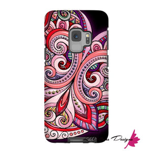 Pink Floral Hearts Mandala Black Phone Cases - Samsung Galaxy S9 / Premium Glossy Tough Case